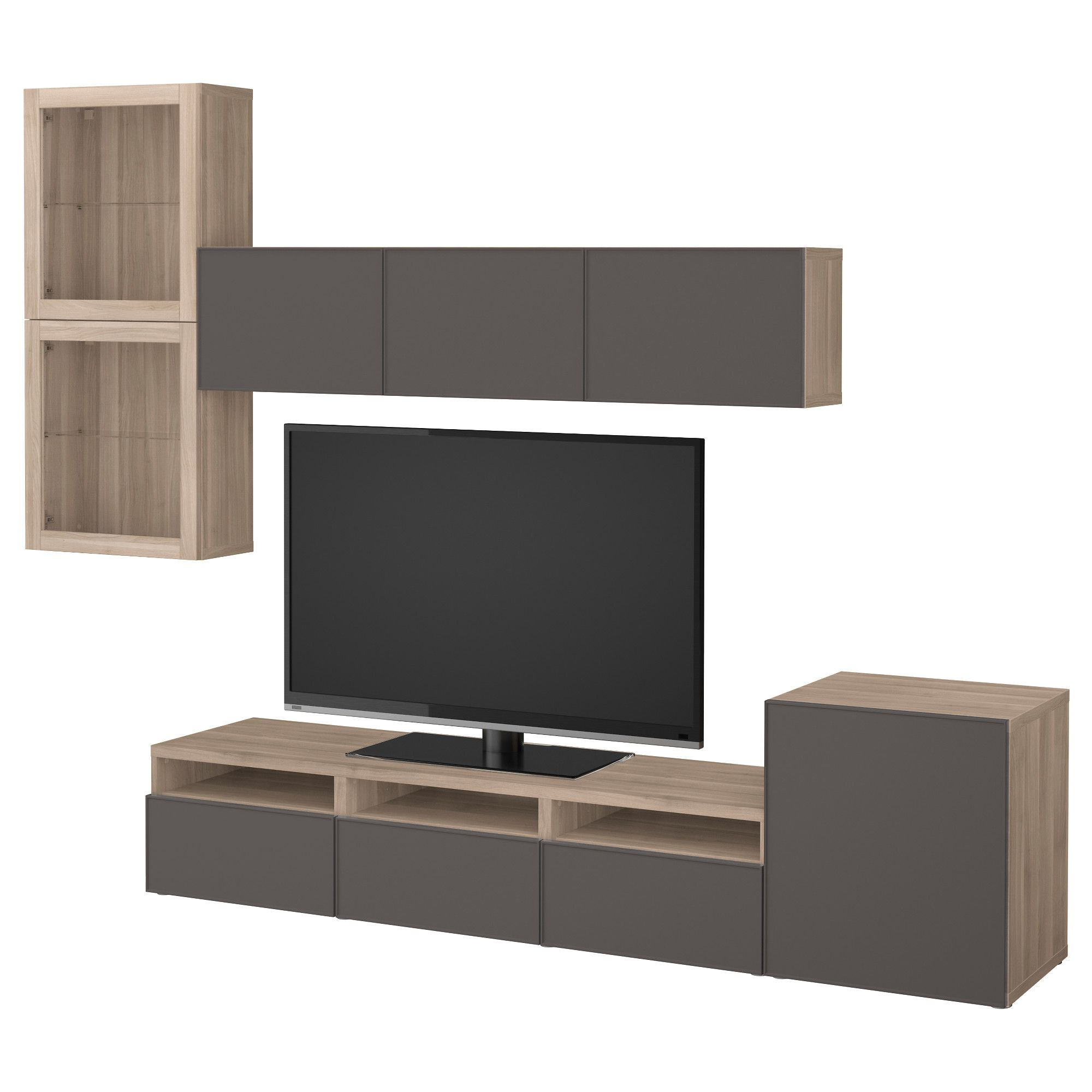Tv Wand Glas BestÅ Tv Storage Combination Glass Doors Walnut Effect Light Gray