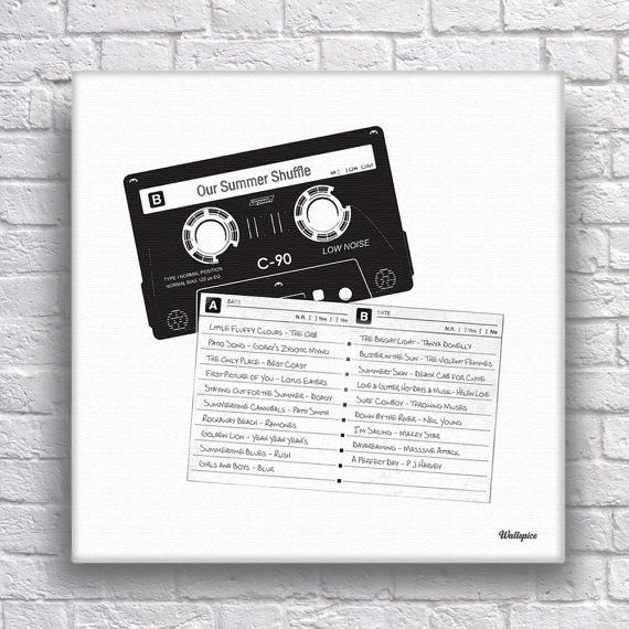 Mixtape Cassette Personalised Tracklist Canvas for Music Lovers  Size 40 x 40cm Regular  For anyone who ever made or received a mix tape or every…