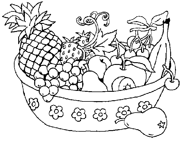 Coloring Pages Kids Small Fruit Basket