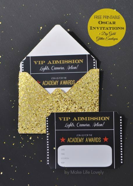 Free Printable Oscar Party Invitations + DIY Gold Glitter - Printable Event Tickets