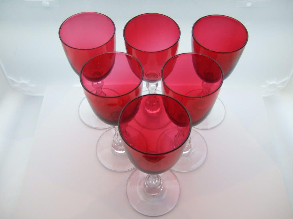 Late 19th Century Cranberry Wine Glasses Cranberry Wine Wine Glasses Vintage Glasses