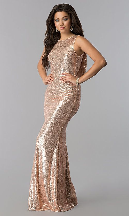 Open-Back-Cowl Long Sequin Prom Dress - PromGirl