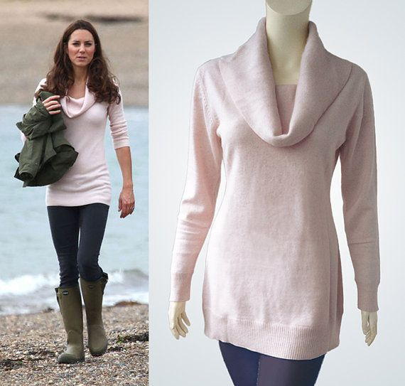 Light baby pink soft cashmere sweater cowl neckline inspired by ...
