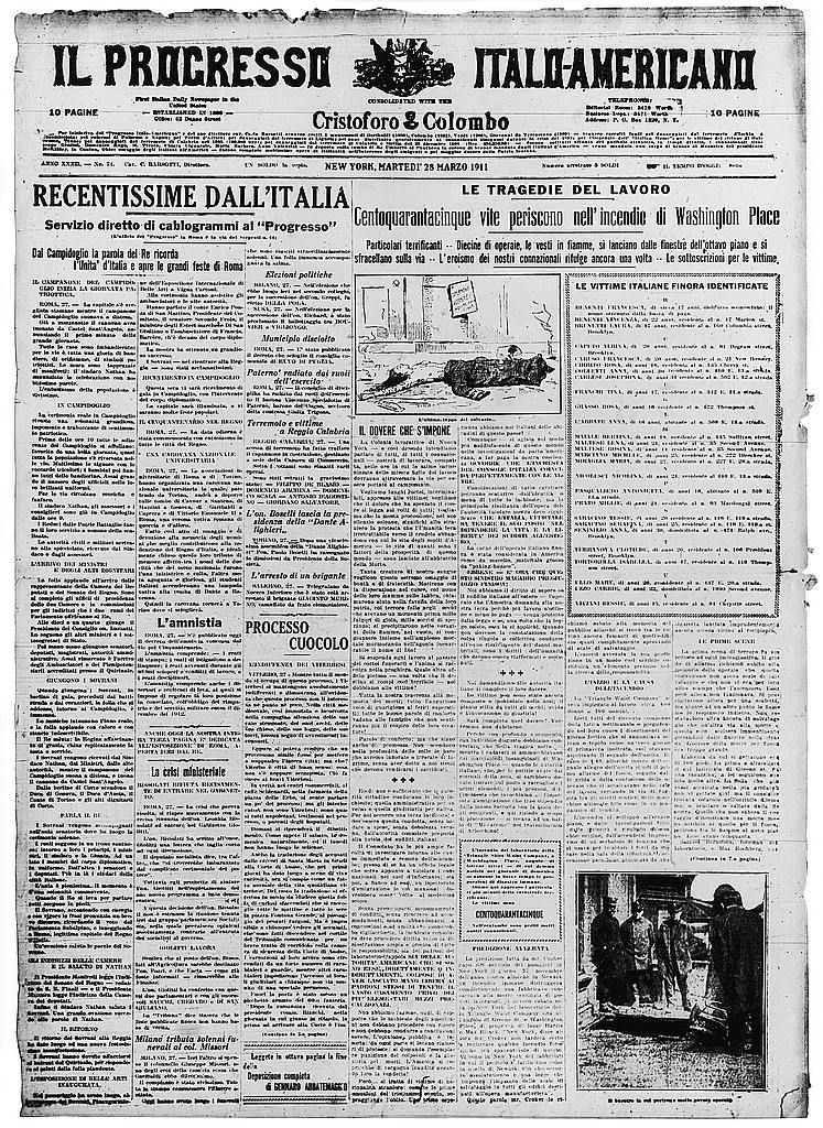 http://lcweb2.loc.gov/service/pnp/ppmsca/02900/02924v.jpg Front page of newspaper, Il progresso Italo-Americano, with story about the Triangle Shi…