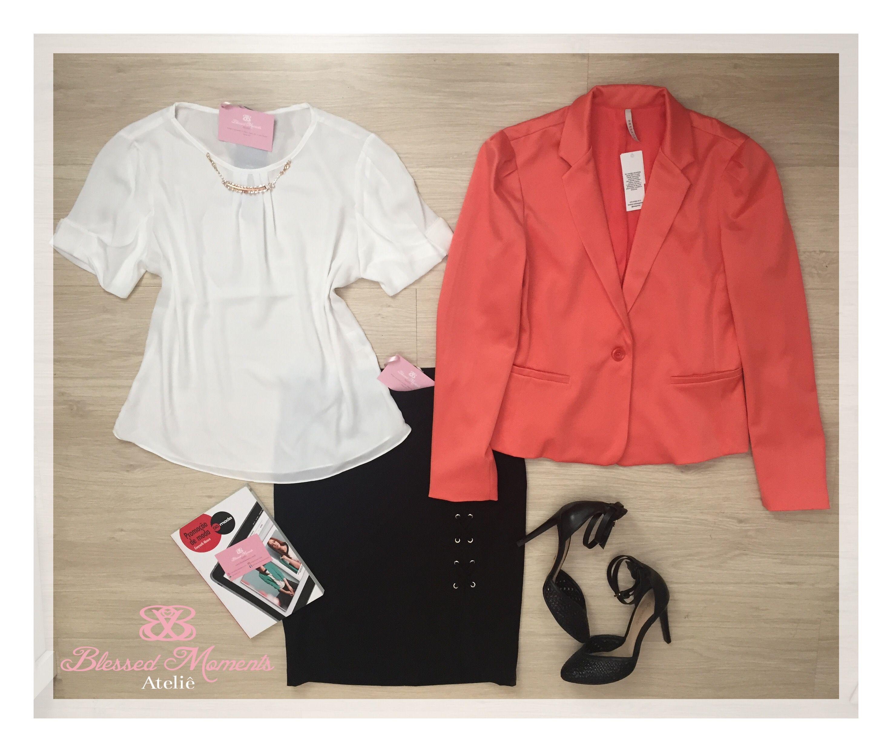 9eee6a12e4 Blusa crepe off white + Blazer Laranja + saia lápis Preta - look de trabalho  - moda executiva