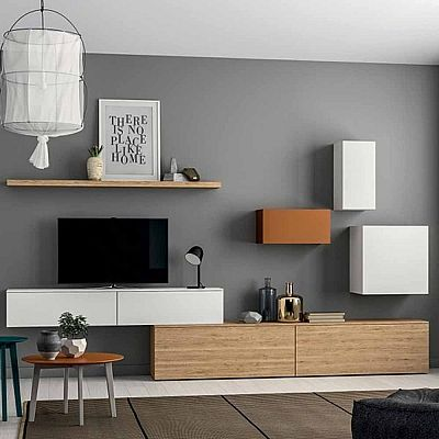 Minimalist elegant 39 orange 39 tv unit high quality for Elegant wall units