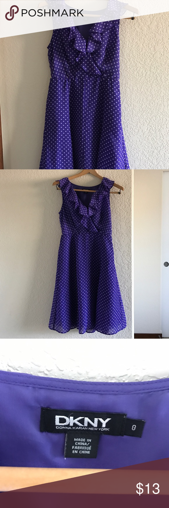 DKNY Purple Polka Dot Dress Size 0 DKNY Purple polka dot dress size 0 in excellent condition. Only worn once for my college commencement ceremony. DKNY Dresses Midi