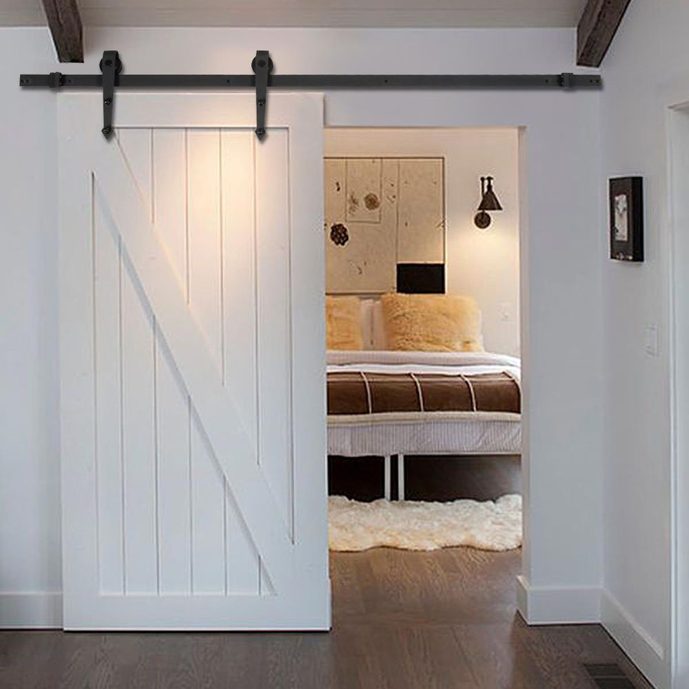 New 6 ft black modern antique style sliding barn wood door for Bedroom barn door hardware