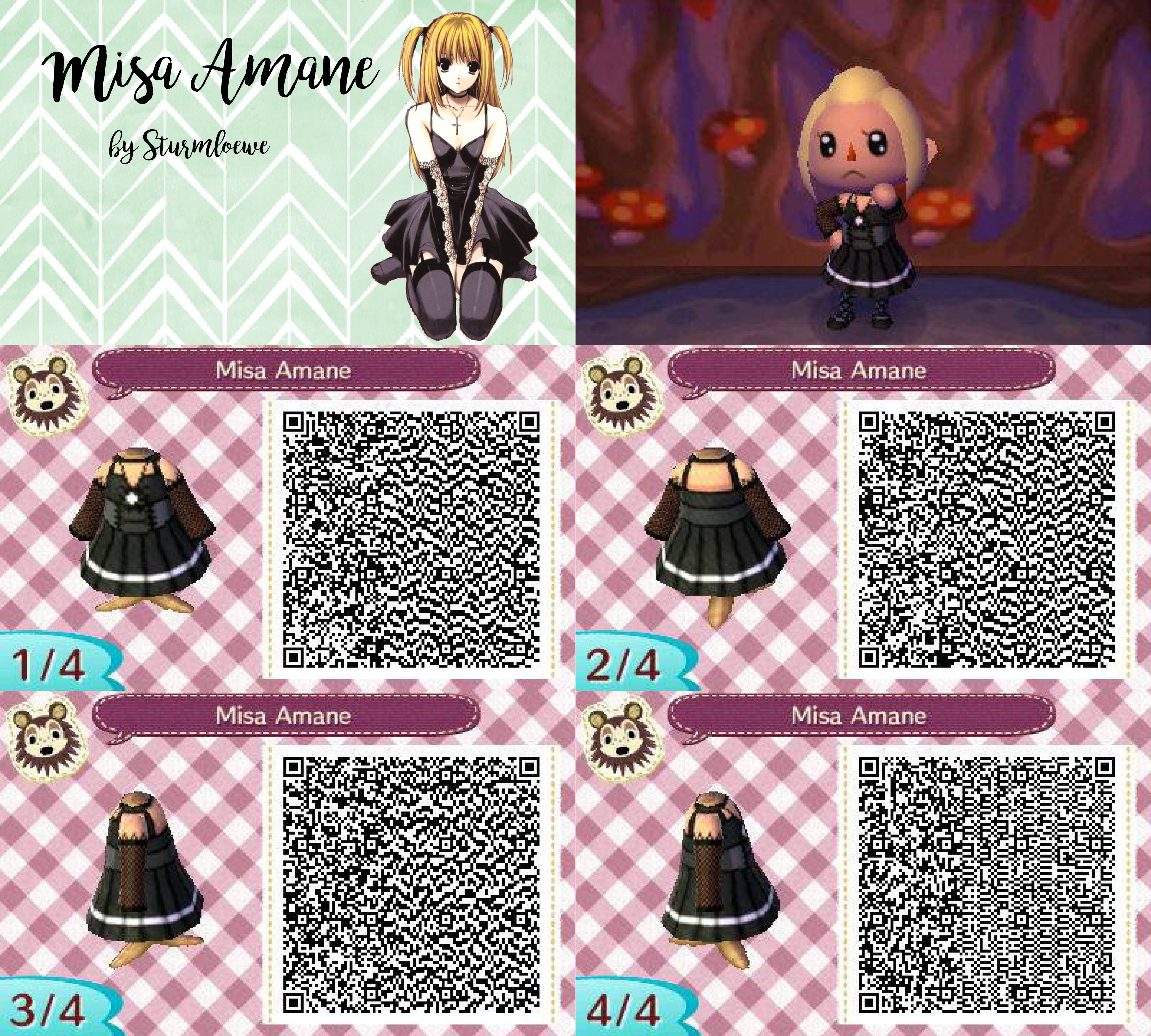 note misa amane dress for animal crossing acnl  qr code girl black goth by sturmloewe