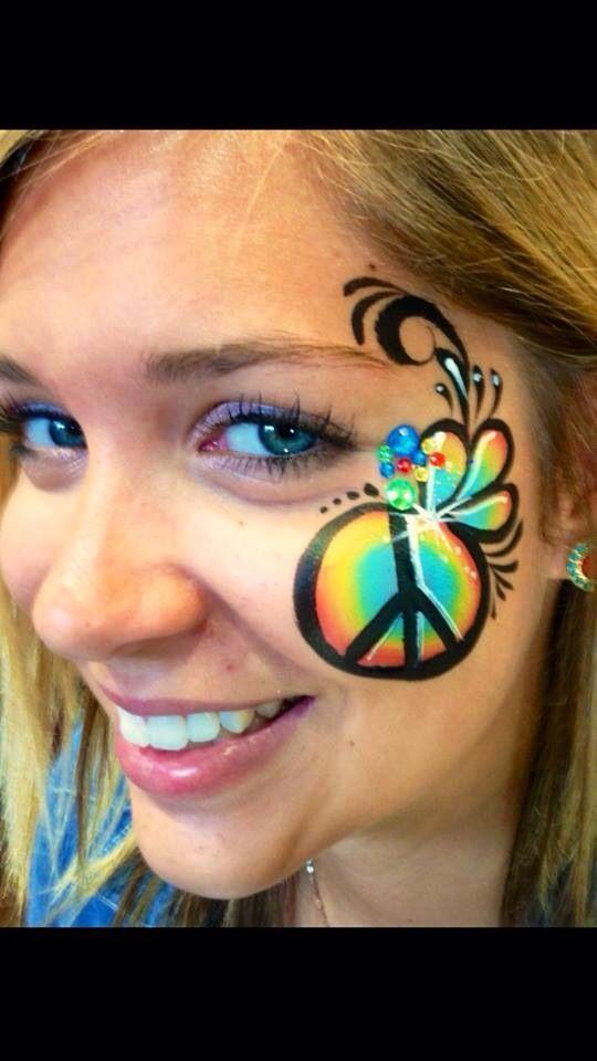 14 Woodstock Face Paint Ideas Face Face Painting Hippie Face Paint