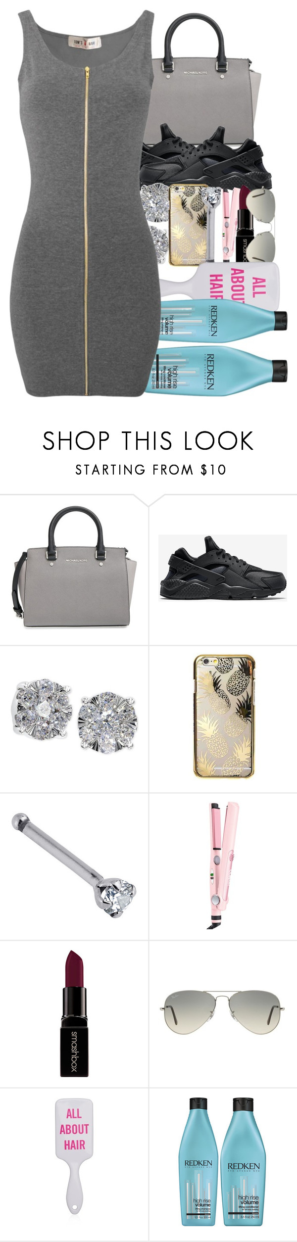 """""""imma eat her ass like a cheesecake now we back to my place bust on her face"""" by wvntertime ❤ liked on Polyvore featuring MICHAEL Michael Kors, NIKE, Effy Jewelry, Skinnydip, Conair, Smashbox, Ray-Ban and Redken"""