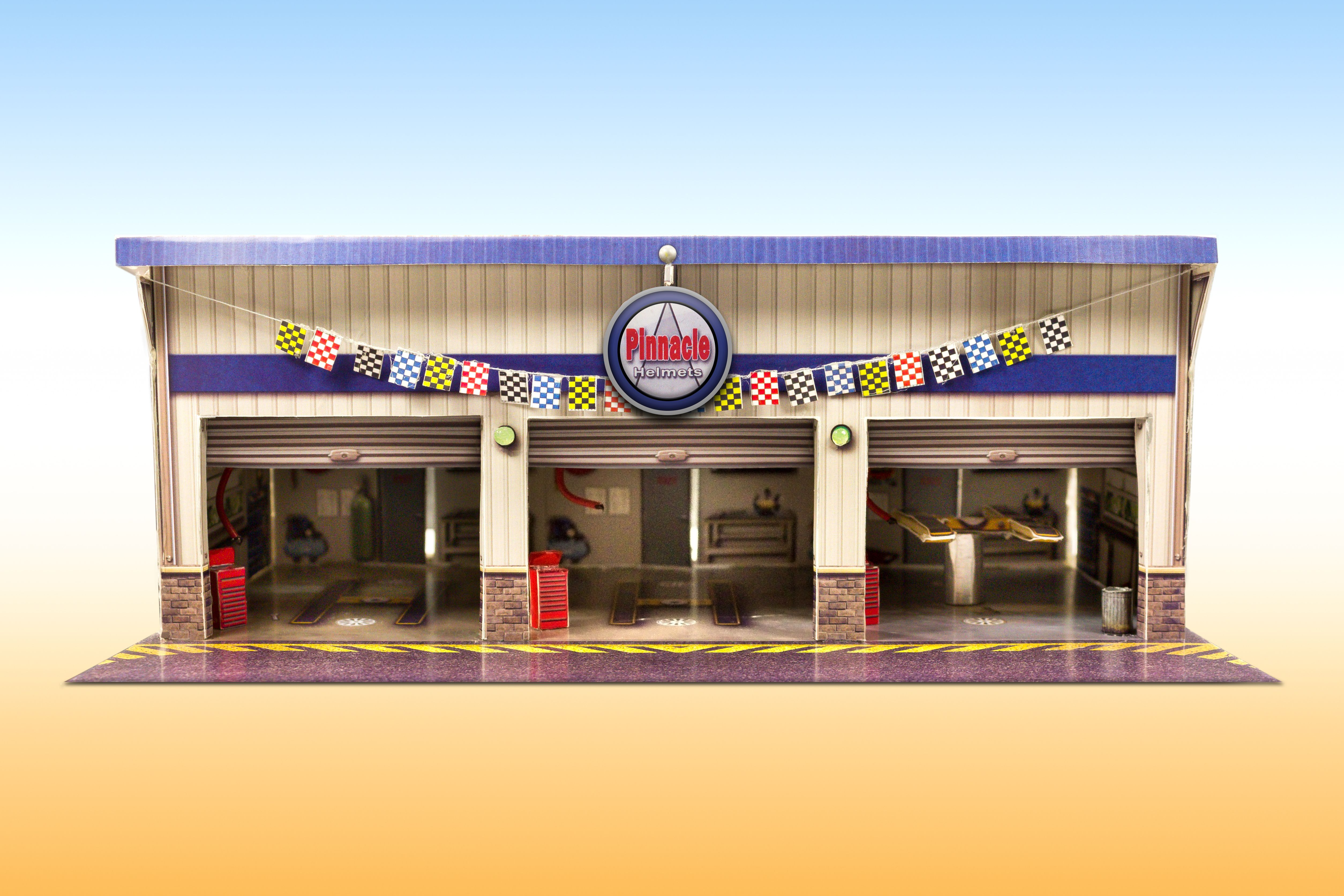 """*NEW* """"Pit Stop Garage"""" Photo Real Scale Building Kit is"""