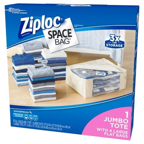 Ziploc 5 Piece Organizer Set Clear Bag Storage Storage
