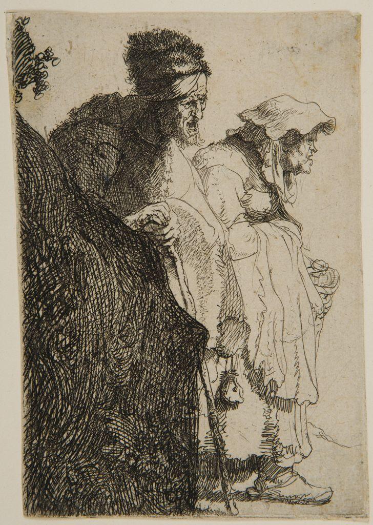Rembrandt Harmensz van Rijn -  Dutch (Leiden 1606 - 1669 Amsterdam). Beggar Couple behind a Bank,  Etching   Harvard Art Museums