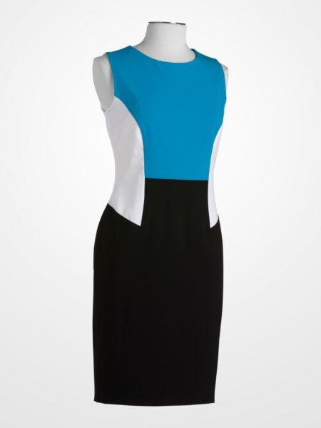 #CalvinKlein Turquoise, White, and Black #Colorblock Sheath Dress