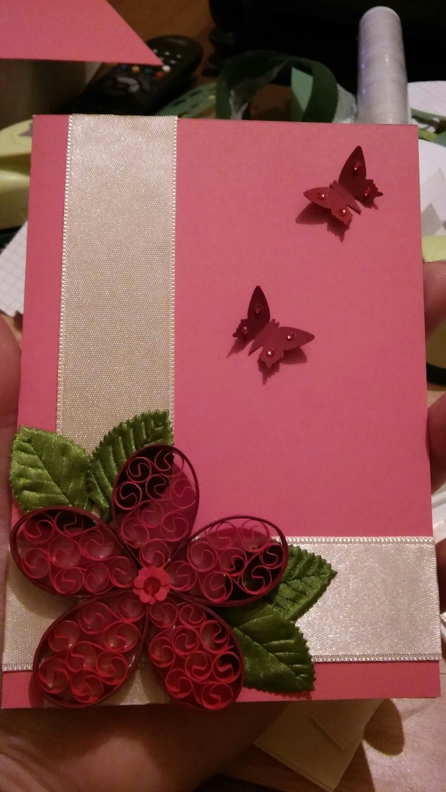 #handmade #cards #flowers #butterfly #pink #gift #quilling