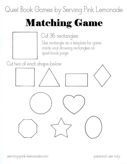 Serving Pink Lemonade: Quiet Book Games Part 4: Memory Match (Free ...