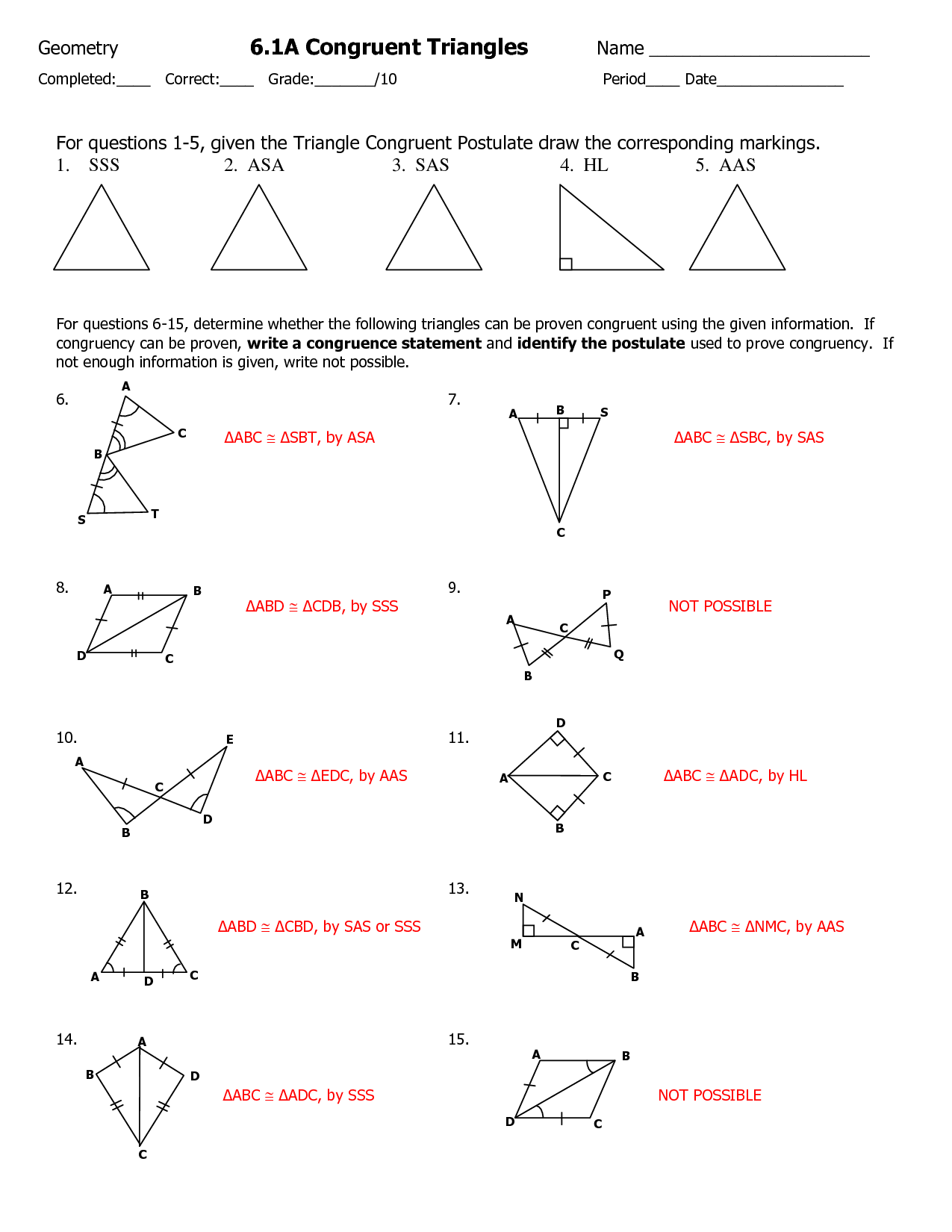 Math Worksheets Congruent Triangle Proofs