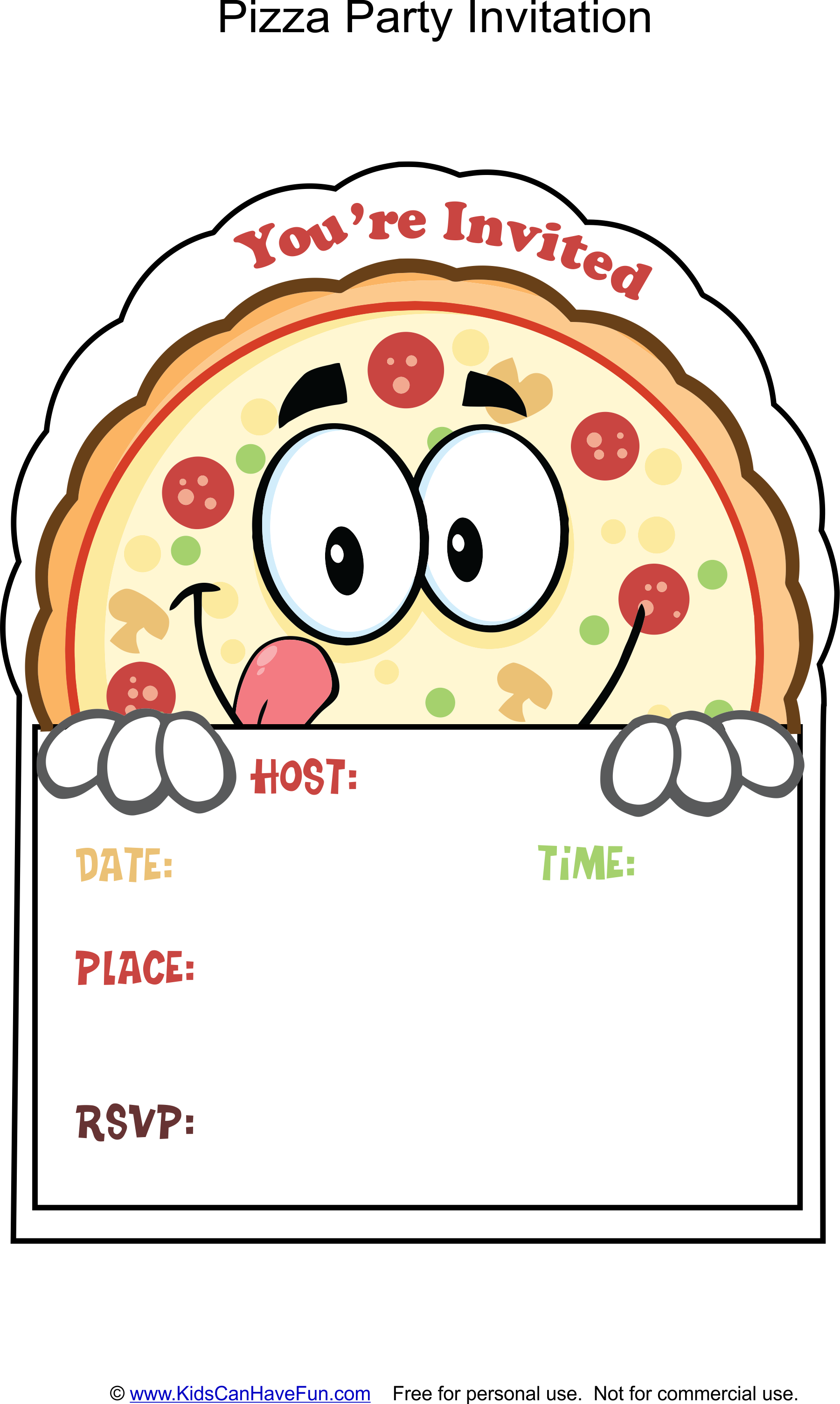 Pizza Party Invite http://www.kidscanhavefun.com/party-cards.htm