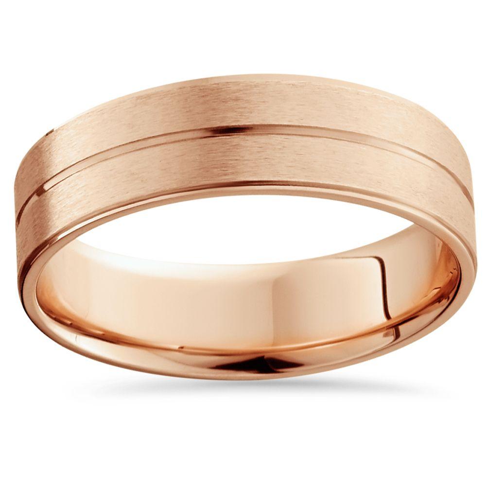 14K Rose Gold Mens Brushed Flat Wedding Band 6mm Wedding