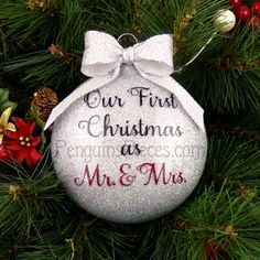 Personalized Our First Christmas Married Glitter Ornament - 1st Mr ...