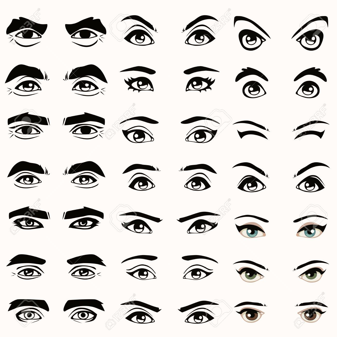 25468541 Female And Male Vector Eyes And Eyebrows Silhouette Jpg 1300 1300 Eye Illustration Eye Expressions Eye Drawing