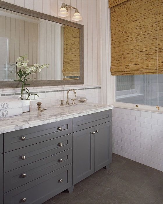 Favorite Gray vanity - off center sink with lots of counter space | Tubby  MH16