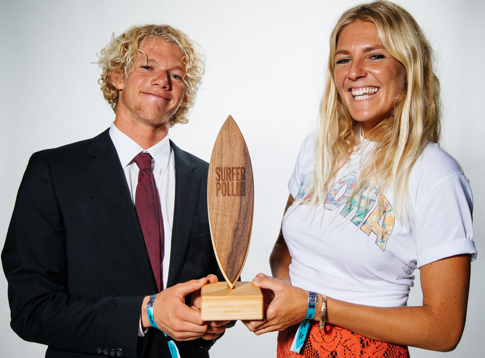 The winners of the 2014 SURFER Poll Awards, John John Florence and Stephanie Gilmore. Photo: Ellis
