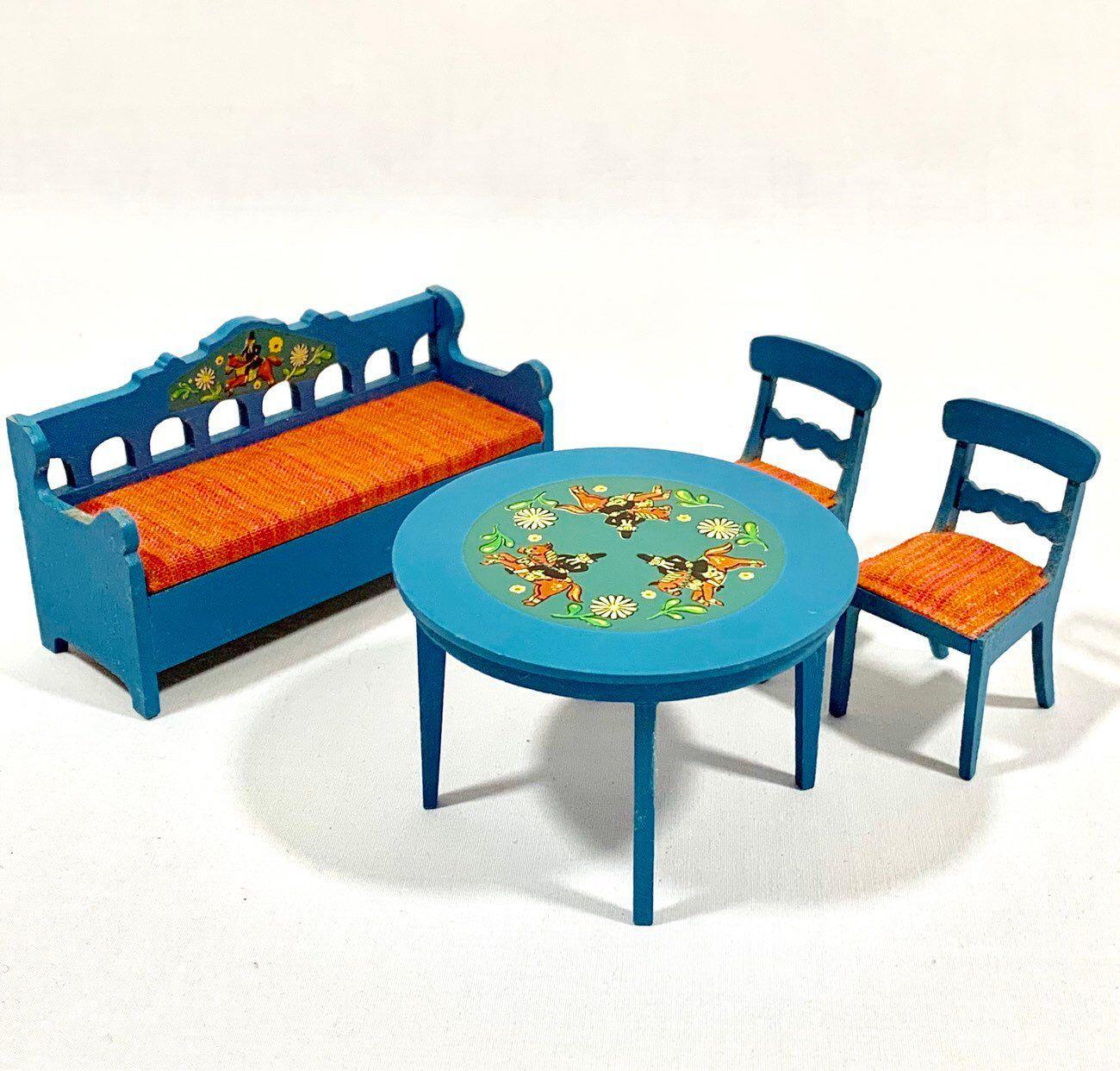 Tavoli Da Giardino Vintage.Vintage Lundby Dollhouse Table Chairs Bench Set Dining Room Set