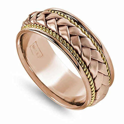 14k Two Tone Gold Braided Basket Weave Men S Comfort Fit Wedding Band 8 5mm Mens Wedding Bands Comfort Fit Wedding Band Mens Jewelry