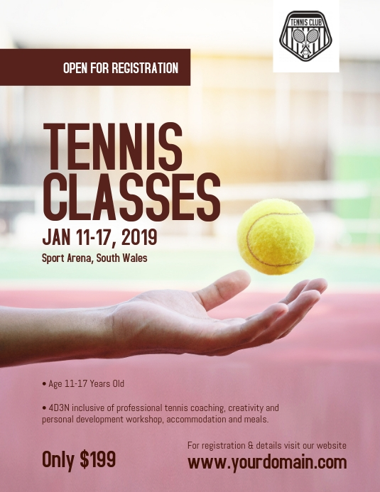 Tennis Classes Coaching Camp Flyer Poster Postermywall Tennis Flyer Coaching
