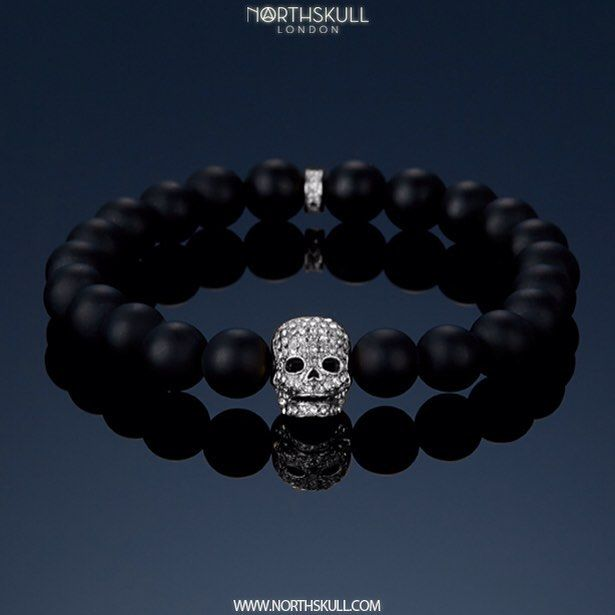 Introducing our NEW Matte Black Onyx/ Silver & Clear Crystal Skull Bracelet. The smooth texture of the semi-precious matte black onyx stones is complemented by our handcrafted silver loop & skull design. Set with precision cut clear Swarovski crystals, it's a luxurious mix of style and sophistication | Available Now At Northskull.com [Worldwide Shipping] #Luxury