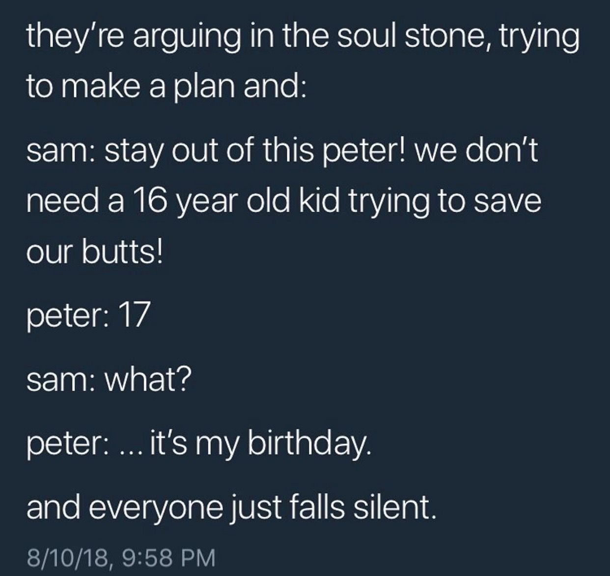 Aww   Peter's 17th birthday day in soul stone, this is not fair