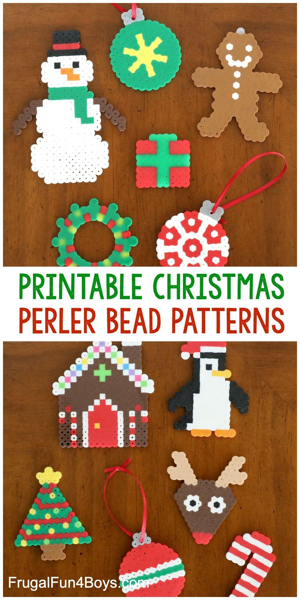 Printable Christmas Perler Bead Patterns Frugal Fun For Boys And Girls Christmas Perler Beads Easy Perler Bead Patterns Perler Bead Templates