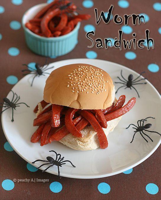 Worm Sandwich (cut up hotdogs) Holiday Halloween Recipes - halloween decorations on pinterest