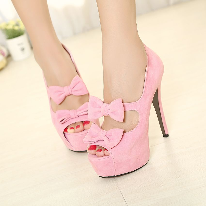 Sweet Princess Bowknot Design Lady's High Heels | Shoes World ...
