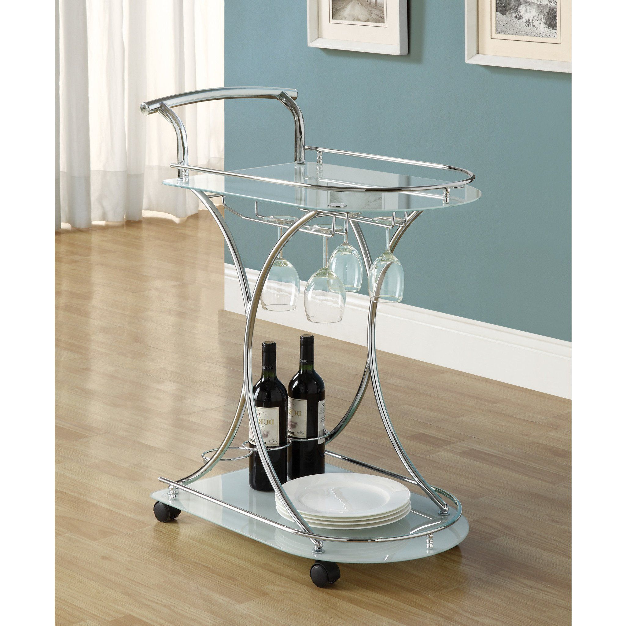 Glasregal Snake Chrome Metal Frosted Tempered Glass Bar Cart By Monarch I 3016