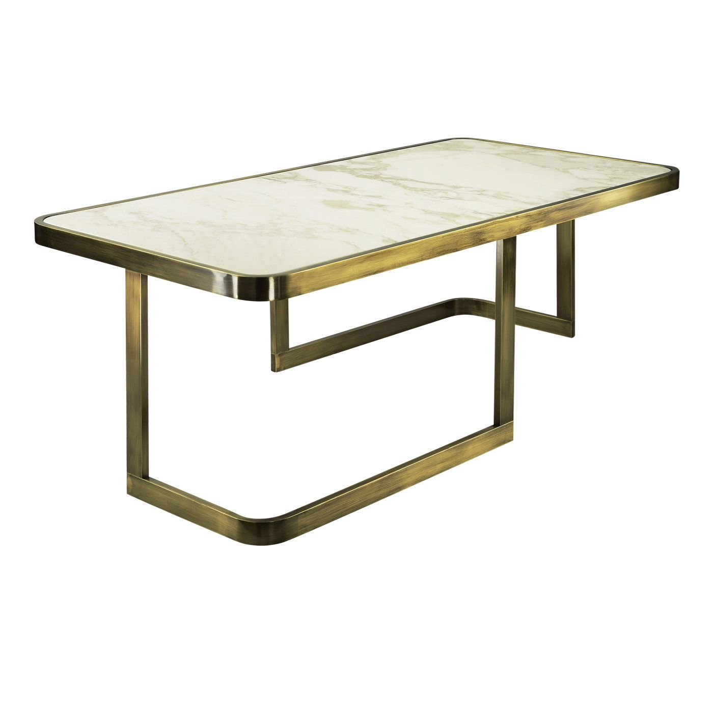 The Structure Of This Elegant Coffee Table In Brass Features Straight And Round Elements And Is