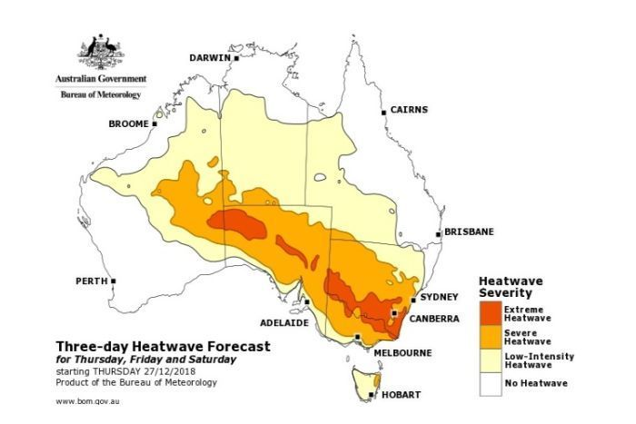 'Extreme heatwaves' expected after Christmas and into 2019