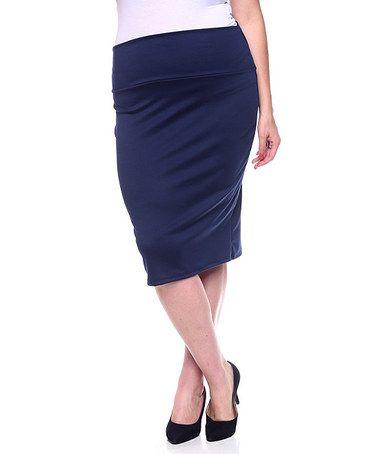 Loving this Navy Pencil Skirt - Plus on #zulily! #zulilyfinds