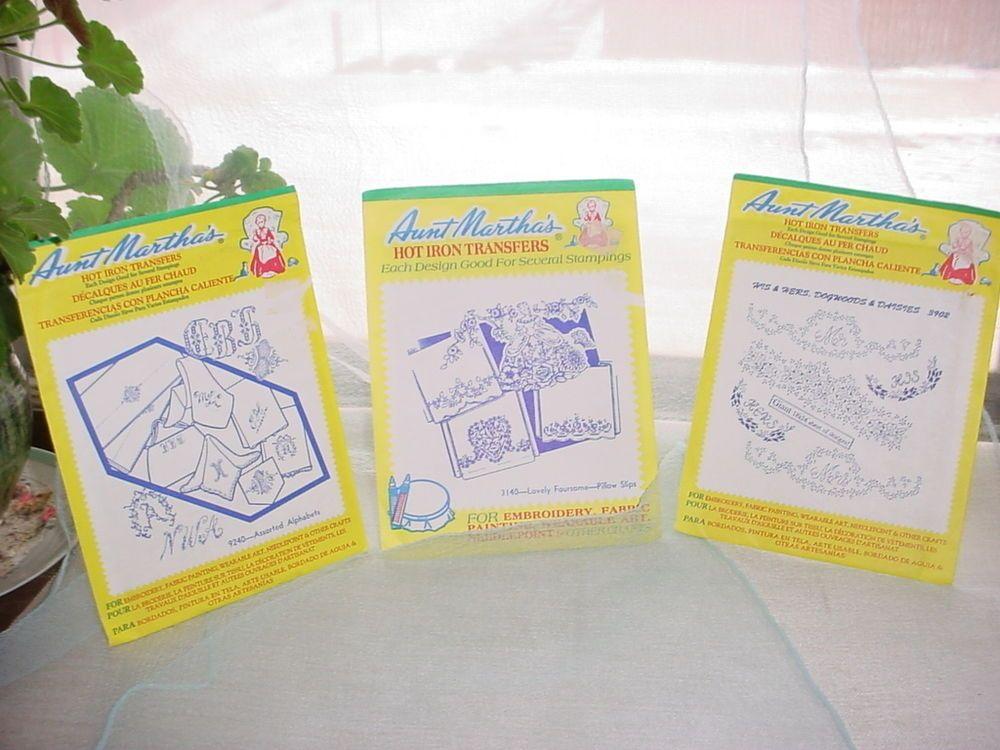 Aunt Martha's Hot Iron Transfers Alphabets Dogwoods Daisies Lady  LOT of 3 #AuntMarthas Seller florasgarden on ebay