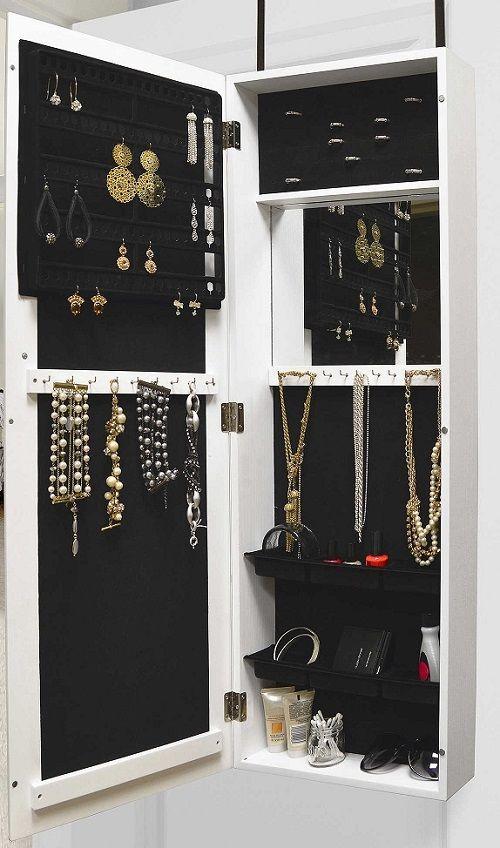 Space Saver Jewelry Cabinet Door Hanger Wall Mount Bedroom Furniture Makeup Case