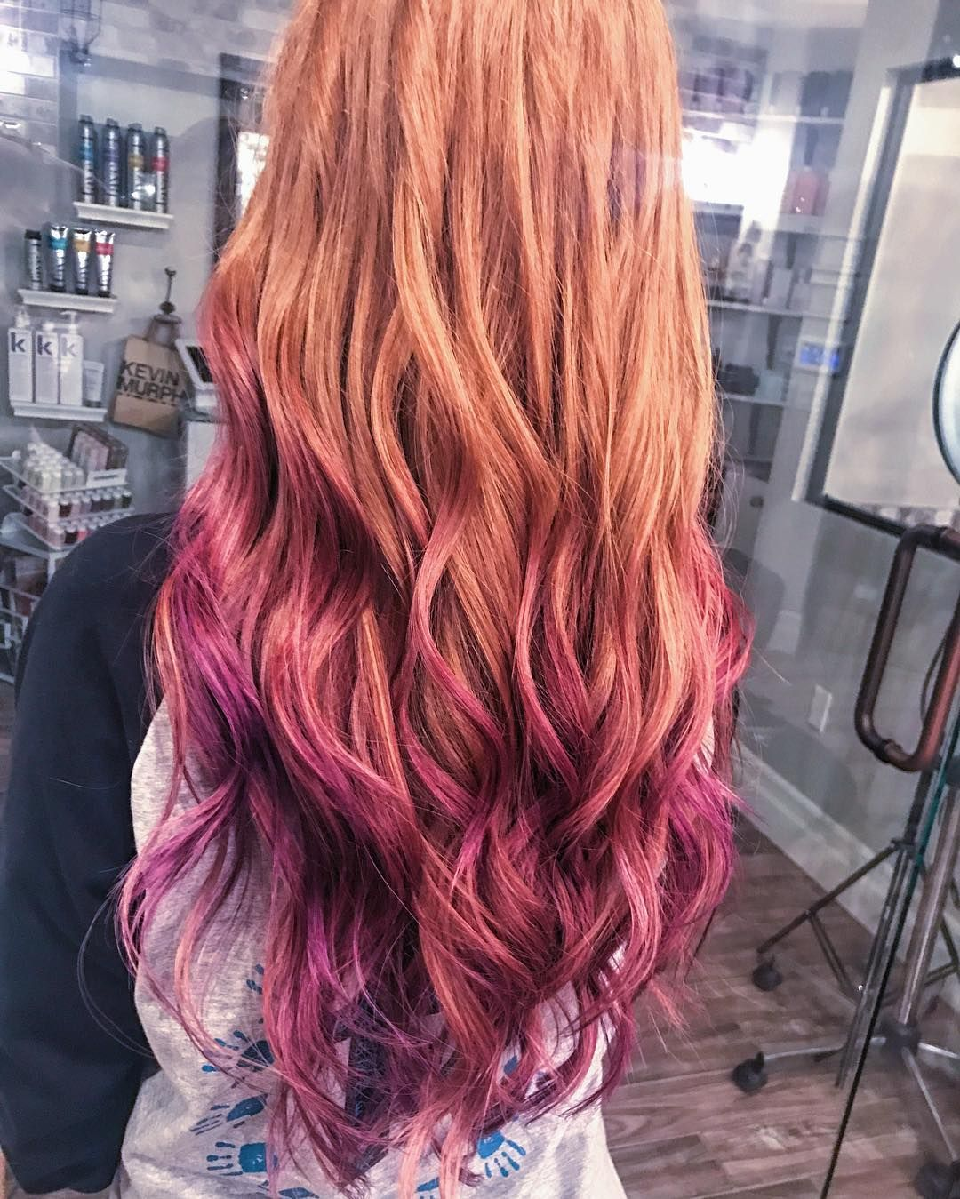Did Some Fun Color Tonight Lavenderhair Purplehaze Colorlights Thebeautygarden Dyed Red Hair Natural Red Hair Ombre Hair Blonde
