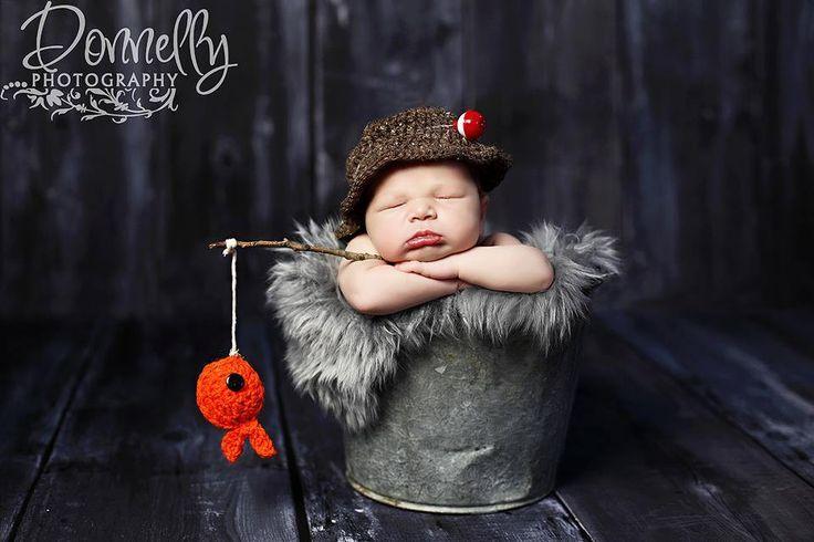 Baby boy hat fisherman set newborn photography baby photo prop crochet hat