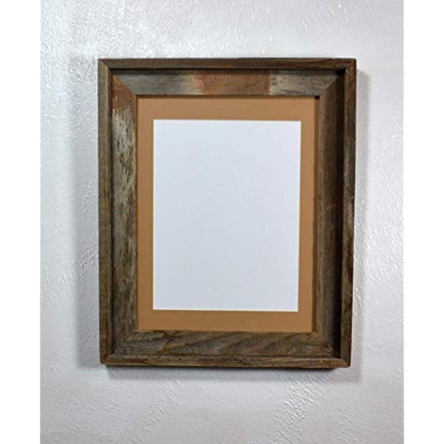 Rustic Picture Frame 8 5x11 Tan Mat With Glass Reclaimed Wood Wall Hung 11x14 Without Mat To View Rustic Picture Frames Picture On Wood Wood Picture Frames