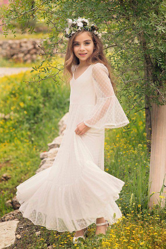 53285468005 First Communion Dress Flower Girl Off White Lace Dress  Boho-chic Girls  Dress  Lace dress for girls