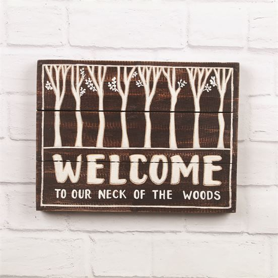 Photo of Forest Scene Welcome Sign