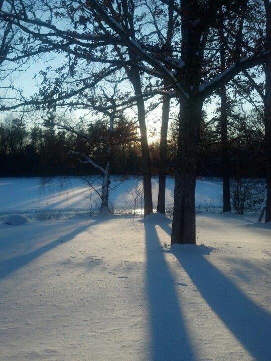 February snow sunset.