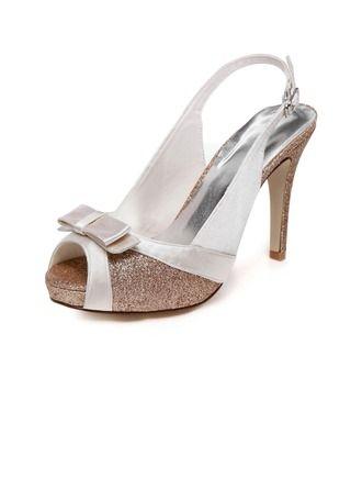 67a2ba236969 Women's Peep Toe Sandals Stiletto Heel Satin Sparkling Glitter Wedding Shoes