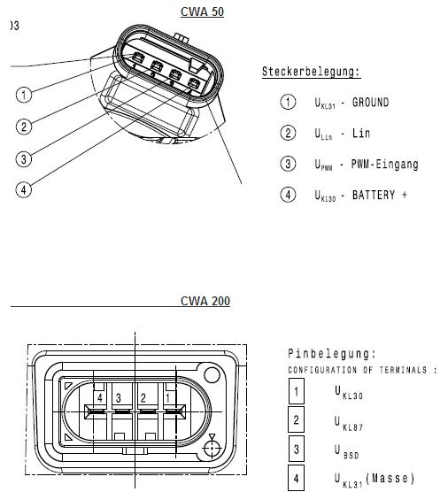 Pierburg AMG CWA100 intercooler pump wiring.
